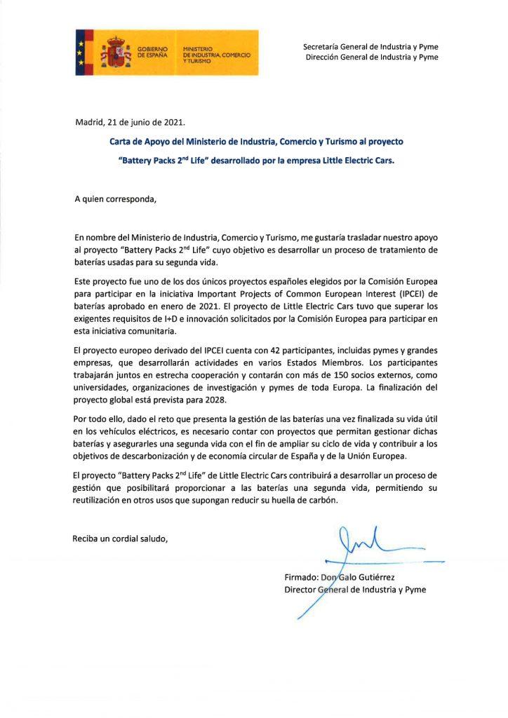 Carta de apoyo del Ministerio de Industria al proyecto de Little Energy